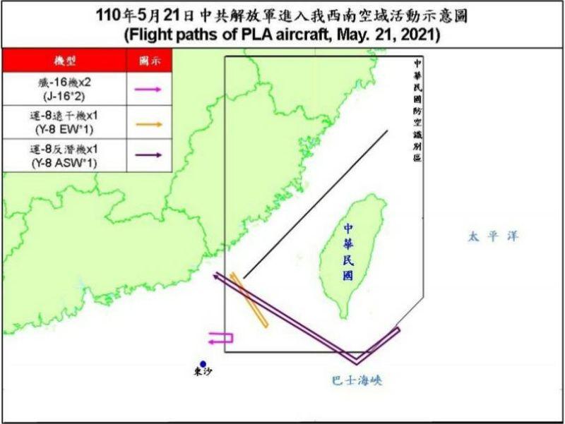 ▲共機5月21日擾台動線圖。(圖/國防部提供)