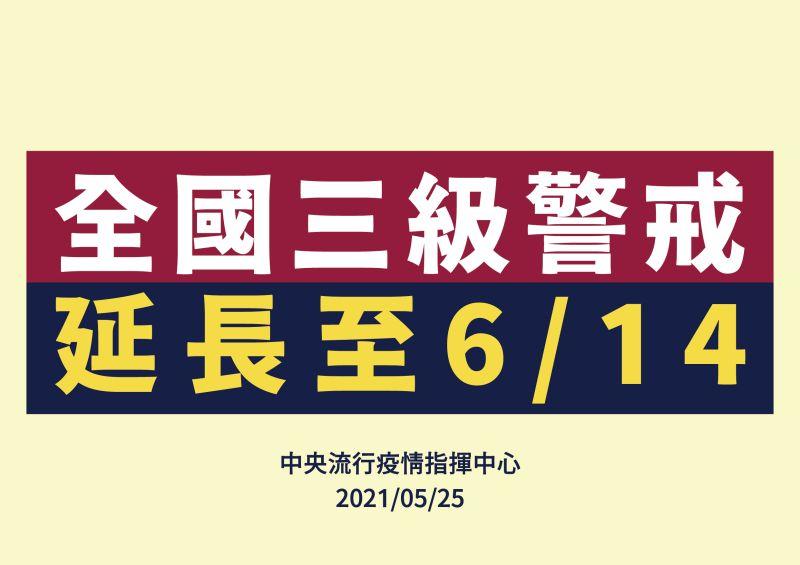 ▲全國三級警戒延至6月14日。(圖/指揮中心提供)