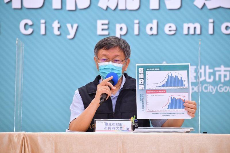▲台北市長柯文哲27日表示,確診數目前幾天趨向平緩,代表疫情有逐漸獲得控制,原因是與民眾自發性防疫有關。(圖/台北市政府提供)