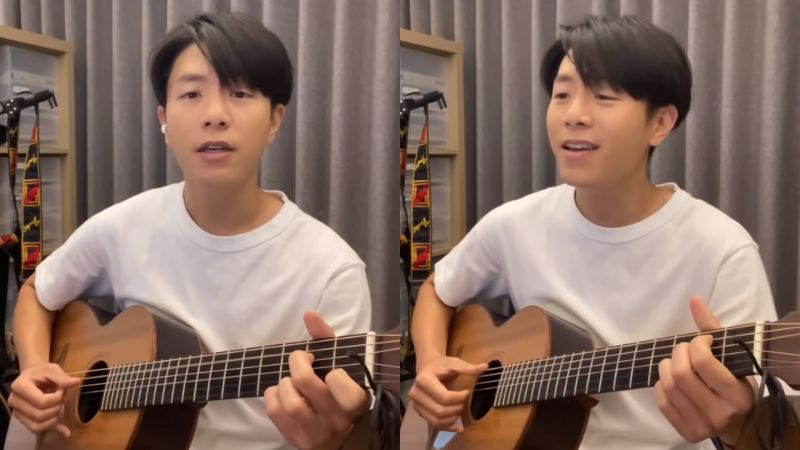 ▲韋禮安自彈自唱《火神的眼淚》片頭曲《因為是你》。(圖/韋禮安YouTube)