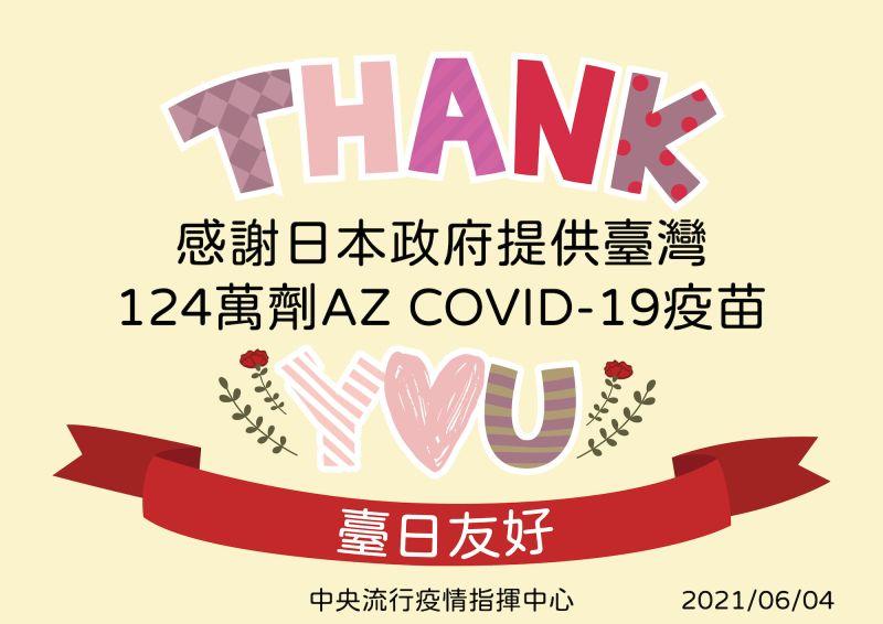 ▲指揮中心感謝日本贈與AZ疫苗。(圖/指揮中心提供)