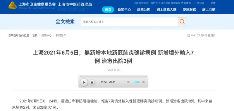 上海再增1例台灣移入 COVID-19確診