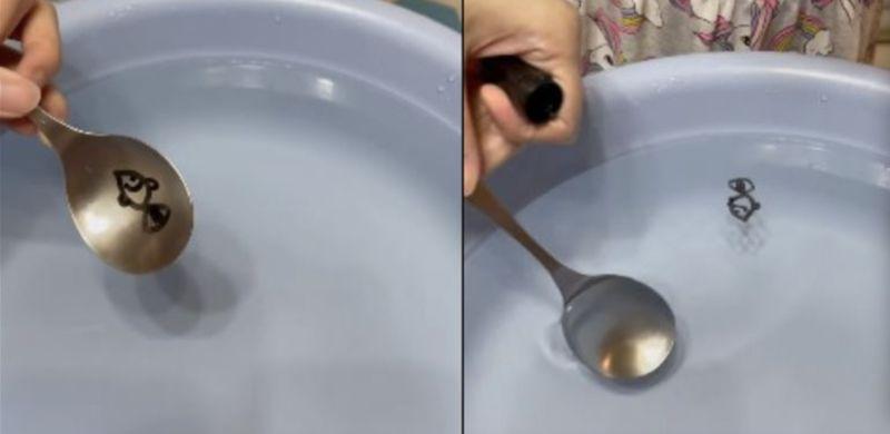▲媽媽用湯匙+水性白板筆玩創意遊戲,讓小孩玩得超開心。(圖/爆廢公社)