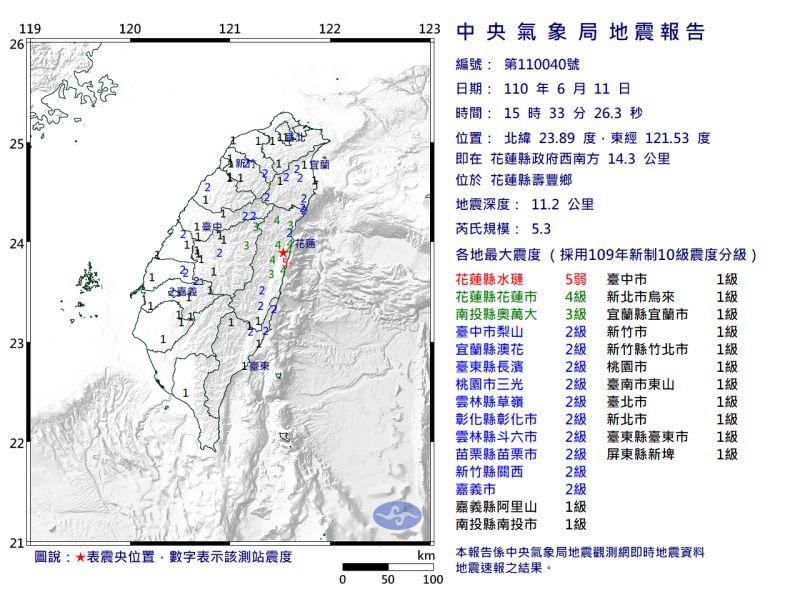 ▲今(11)日下午15點33分,接連13:12分的地震,花蓮又發生芮氏規模5.3有感地震。(圖/氣象局)