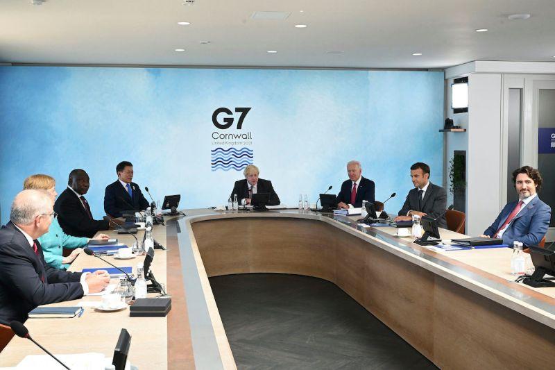 ▲日本共同社報導,G7領袖聲明上首度載明「台灣海峽和平與穩定的重要性」。(圖/美聯社/達志影像)