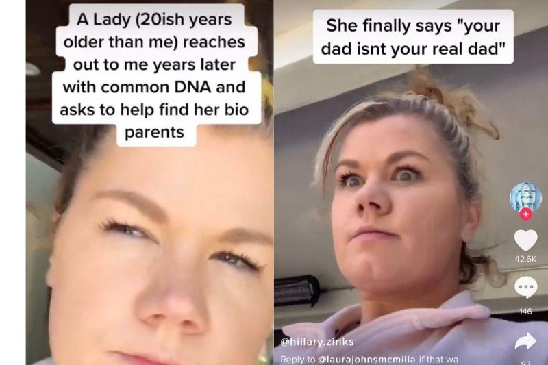 ▲媽媽向希拉蕊透露,其實她的父親並不是她的生父。(圖/翻攝自《@hillary.zinks》TikTok