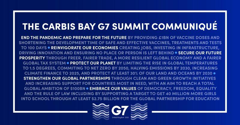 台海、疫苗、氣候變遷 G7峰會公報提了什麼?