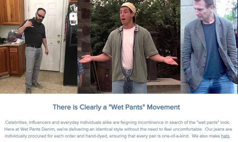 ▲該公司在他們的網站上聲稱,「名星、網紅和普通人都在假裝失禁,就是為了跟上漏尿穿衣風格。」(圖/擷取自Wet