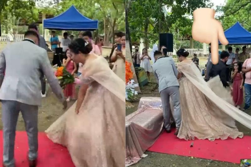 ▲從新娘裙底鑽出的男子,其實是婚禮策畫師羅爾,為了避免婚紗被強風吹亂,才會鑽進婚紗裡面幫忙壓住裙擺。(圖/翻攝自《Lunesa