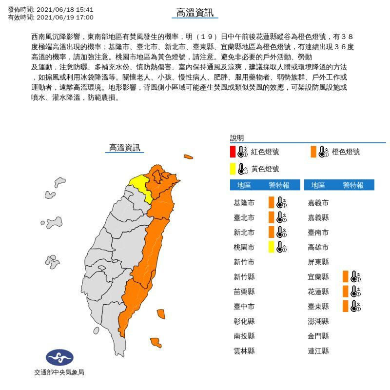 ▲氣象局表示,19日中午前後,北部及東部都將出現36度以上高溫。(圖/中央氣象局提供)