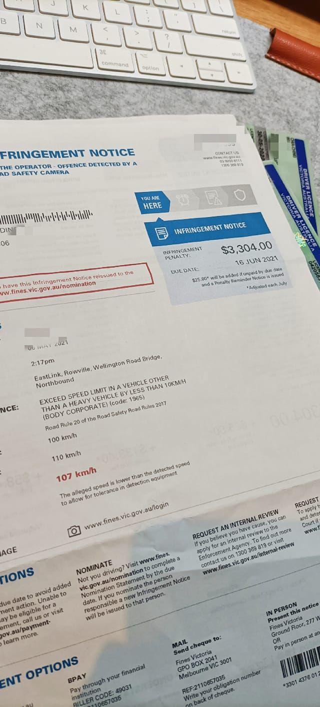 ▲網友在澳洲收到超速罰單,金額讓他好崩潰。(圖/翻攝自《爆怨2公社》臉書)