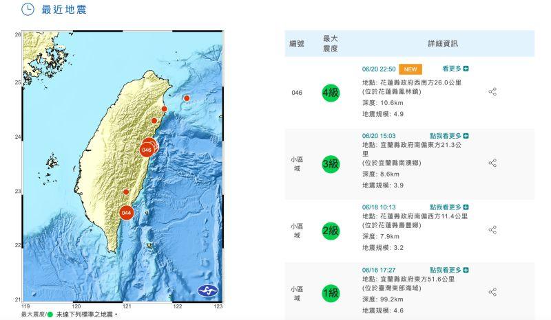 ▲今(20)日晚間10點50分發生規模4.9地震,震央位於花蓮縣鳳林鎮,地震深度11km。(圖/翻攝自中央氣象局)
