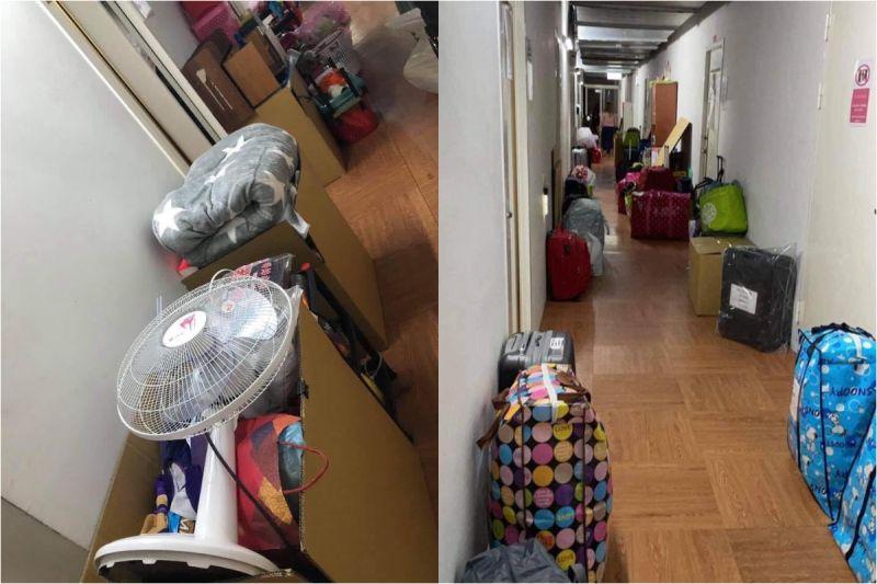 ▲移工私人物品被打包後、清出房間棄置於走廊。(圖/民眾提供)