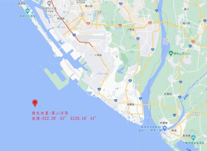▲發生油污洩漏事件的台灣中油公司煉製事業部大林煉油廠高雄港外海2號浮筒位置。(圖/海洋保育署提供)