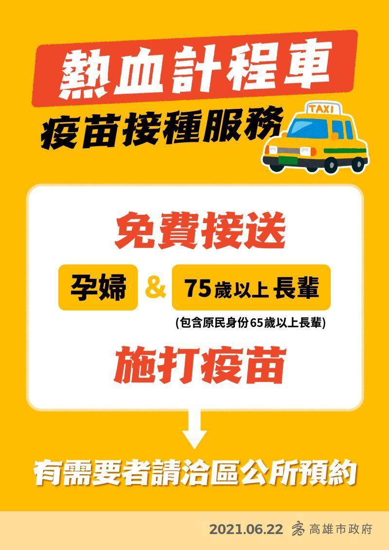 ▲高雄市的熱血計程車也提供孕婦載送服務,有需要的孕婦都可以洽區公所預約。(圖/高雄市政府提供)
