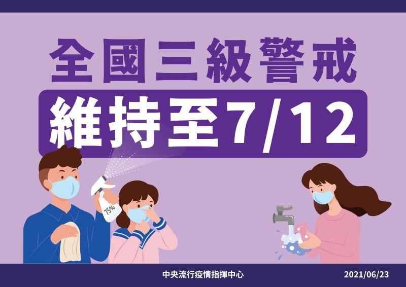 ▲指揮中心公布全國三級警戒至7月12日。(圖/指揮中心提供)