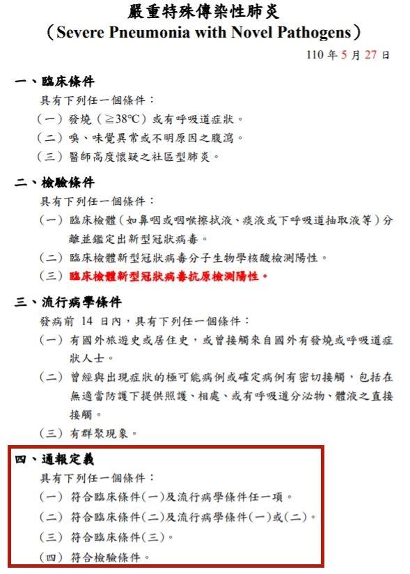 ▲高雄市衛生局出示嚴重特殊傳染性肺炎的通報定義。(圖/高雄市衛生局提供)