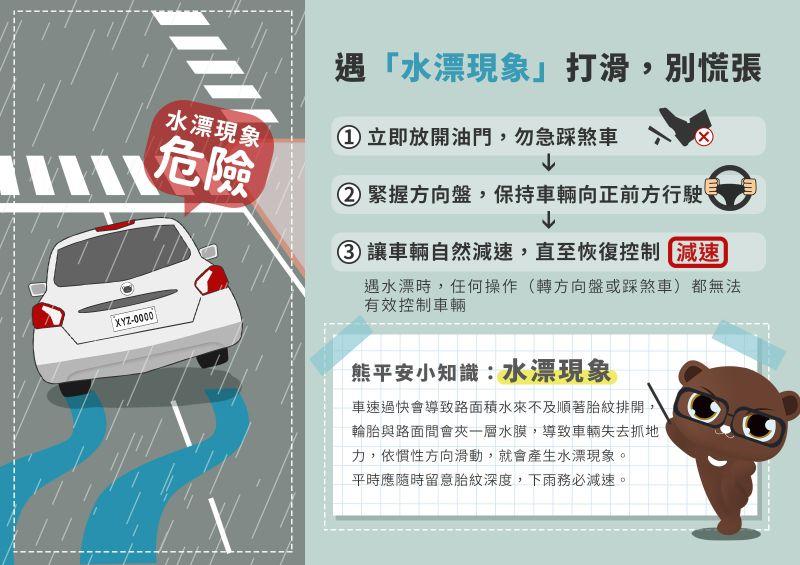 ▲另外若在大雨中開車遇到「水飄現象」,駕駛朋友應立即放開油門。(圖/翻攝自交通部道安會)