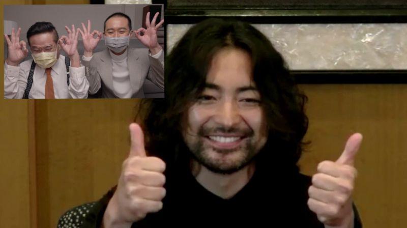 ▲▼許效舜(子框左)跟浩子訪問《AV帝王》山田孝之。(圖/Netflix)