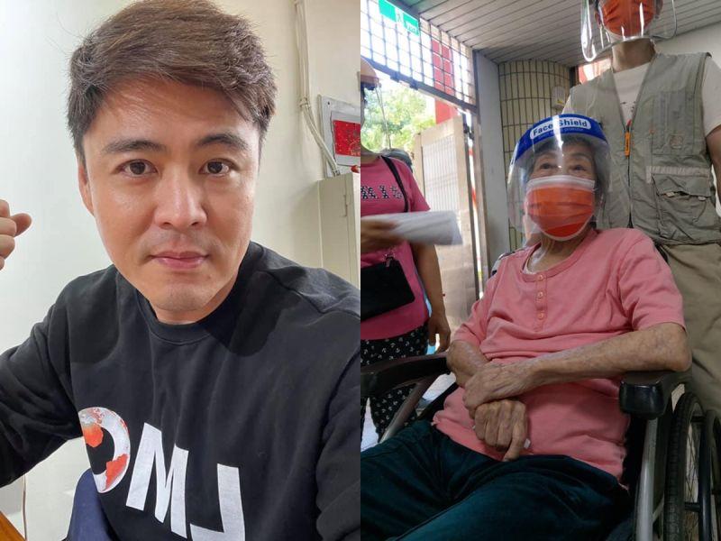 ▲劉至翰(左)102歲阿媽接種疫苗。(圖/翻攝劉至翰臉書)