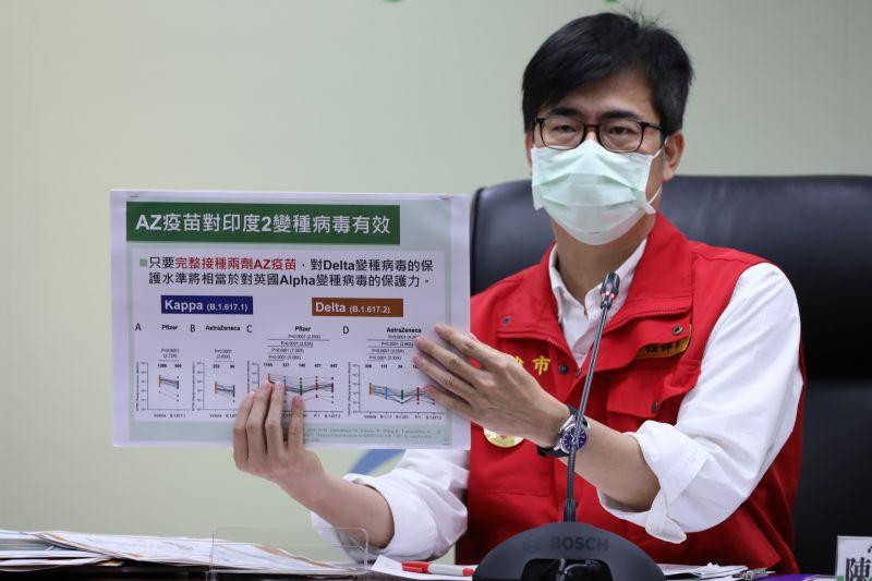 ▲陳其邁也拜託民眾不要挑疫苗,他說,AZ疫苗對於印度的Kappa和Delta都有效,他和衛生局長都是打AZ疫苗。(圖/高市府提供)