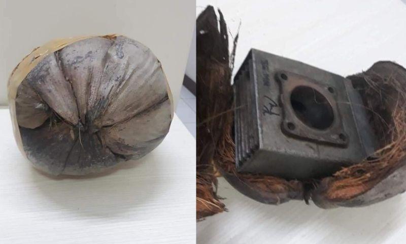 ▲民眾網購機車零件卻收到一顆椰子還以為被騙,沒想到是賣家將東西藏在裡面,防止物品碰撞又環保。(圖/)