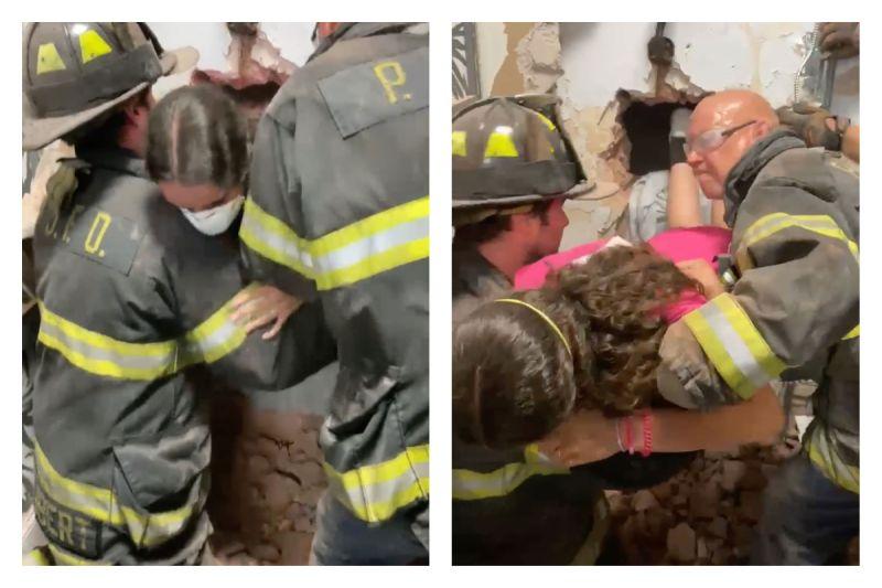 ▲美國一位少女受困試衣間,最後出動消防隊打穿牆壁才把人救出。(圖/翻攝自Port Jefferson Fire Department臉書)