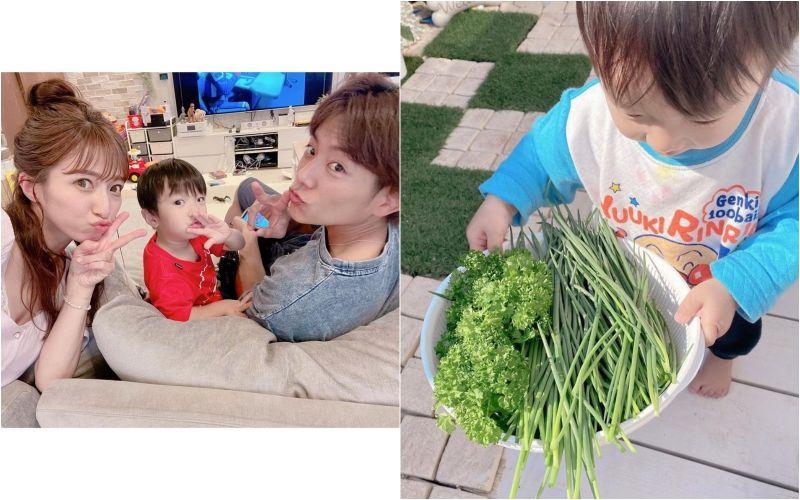 ▲辻希美(左)疫情間想出消磨時間的辦法,就是與兒子在陽台種菜。(圖/辻希美IG)