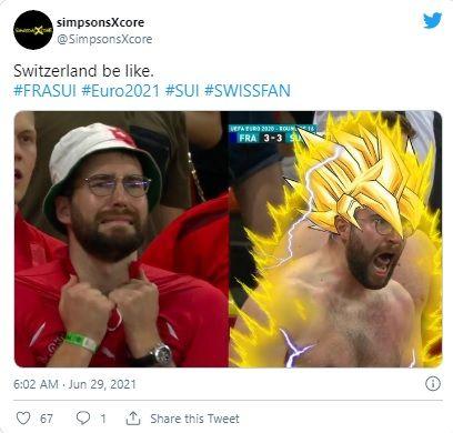 ▲有人將路卡激動的照片與七龍珠超級賽亞人比對,甚至將他的頭髮後製成漫畫中的樣子,贏得眾多網友的讚賞。(圖/擷取自@SimpsonsXcore推特)