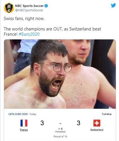 ▲NBC體育將路卡脫下衣服後的照片截圖,並在推特上表示這個畫面代表著所有的瑞士球迷。(圖/截取自@NBCSportsSoccer推特)