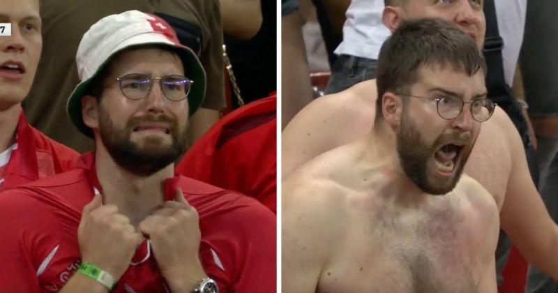 ▲近期一位瑞士足球狂粉卻在短短兩分鐘內因為一場賽事,情緒擺盪大到一夕間成了網上瘋傳的迷因。(圖/截取自Hector Diaz推特)