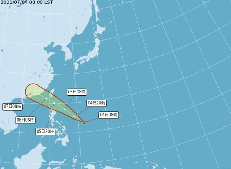 ▲中央氣象局今(4)表示,菲律賓東方海面的熱帶性低氣壓(TD07),最快明日將形成今年第6號輕度颱風「烟花」。(圖/翻攝自中央氣象局)