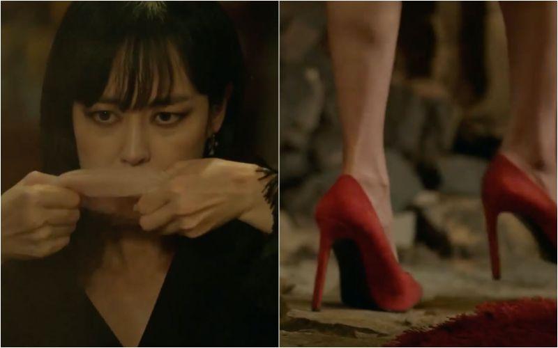 ▲▼李奎炯(上)劇中男扮女裝成李荷娜,混淆警察辦案。(圖/tvN)