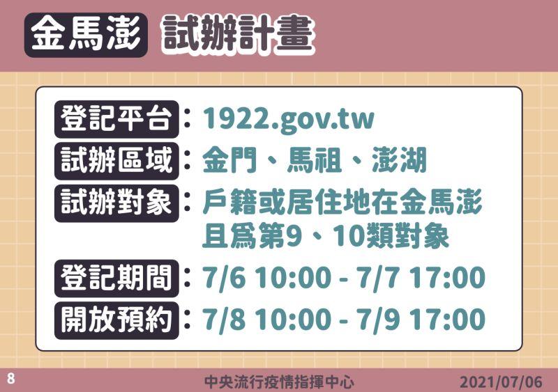 ▲疫苗接種平台由澎湖、金門、馬祖先試行。(圖/指揮中心提供)