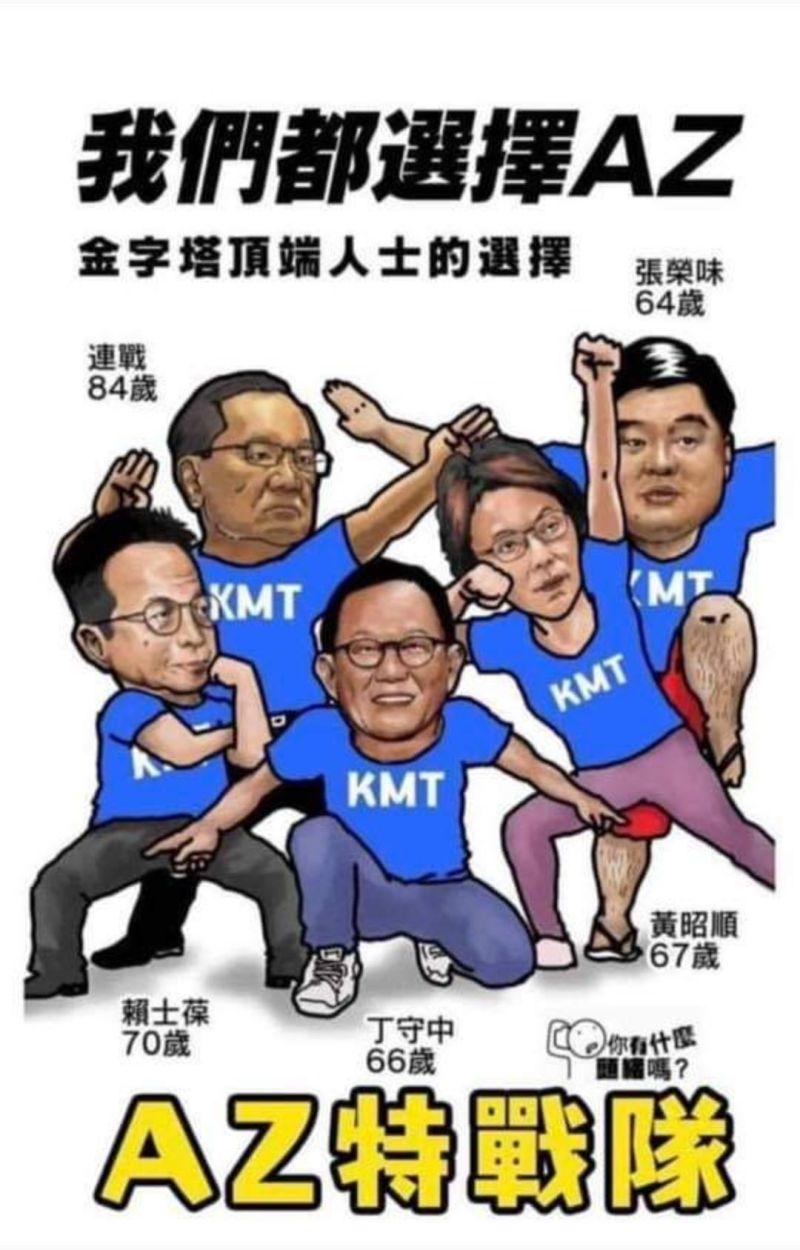 ▲先前國民黨部分人士被畫成「AZ特戰隊」惡搞圖。(圖/翻攝自管碧玲臉書)