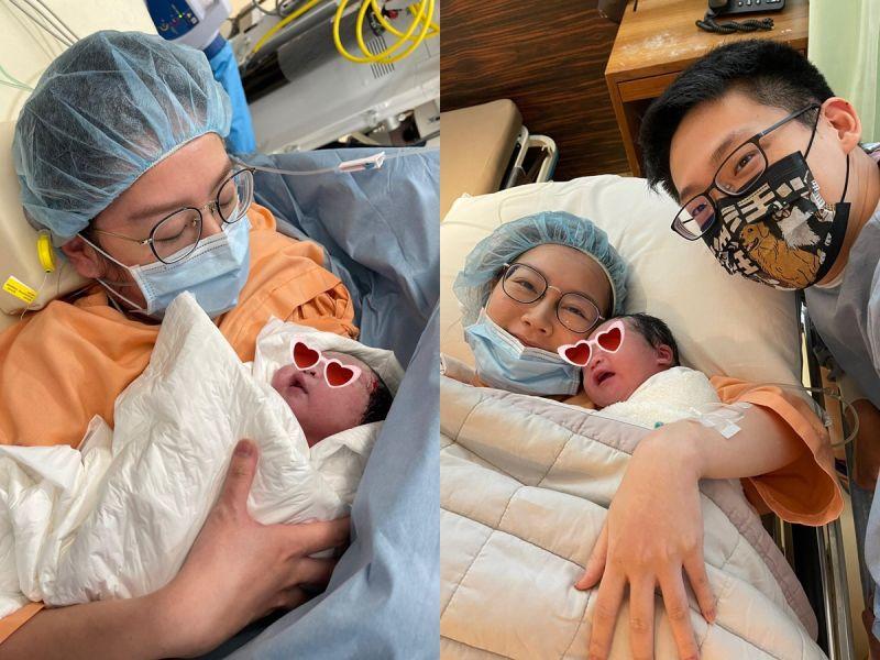 ▲陶嫚曼(右圖左)、張維洋(右圖右)二女兒出生。(圖/經紀人提供)