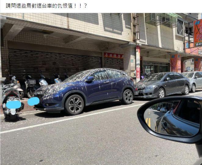 ▲一名女網友透露,自己無意間在路邊看到一台車,車頂滿滿的全是小鳥糞便,而畫面曝光,吸引2.2萬人朝聖。(圖/翻攝自臉書社團「爆廢公社公開版」)