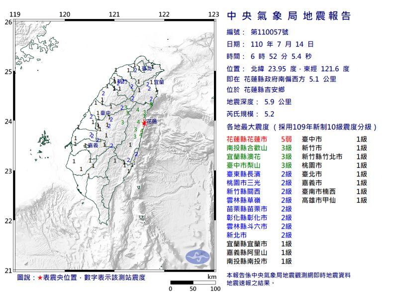 ▲中央氣象局表示,今日上午出現的地震,是本月7日及8日那場雙主震的餘震。(圖/中央氣象局提供)
