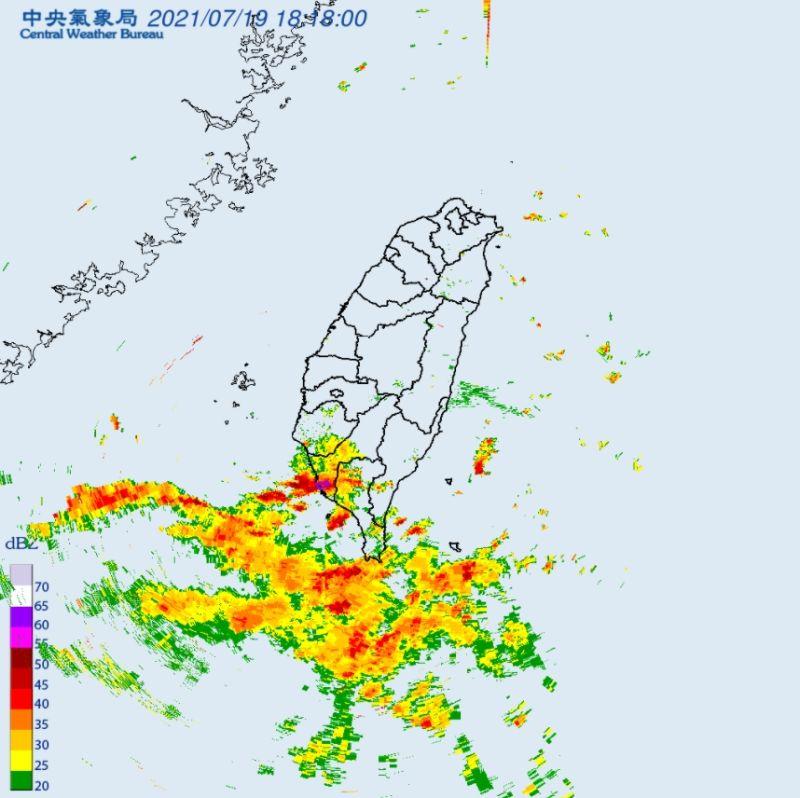 ▲氣象局雷達回波圖。(圖/翻攝自中央氣象局網站)