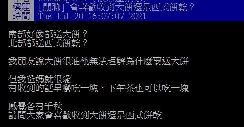 ▲近日有網友在PTT詢問大家「會喜歡收到大餅還是西式餅乾?」結果全場答案一面倒。(圖/翻攝自PTT)