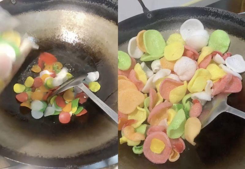 ▲網友分享辦桌菜上「彩色蝦餅」的原料,讓不少人驚呼「原來長這樣」。(圖/Tik