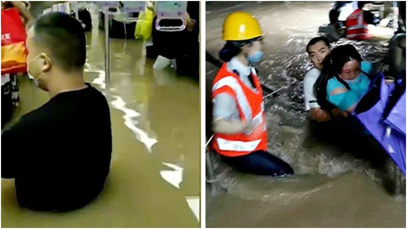 ▲鄭州地鐵內部淹水畫面。(圖/翻攝自微博)