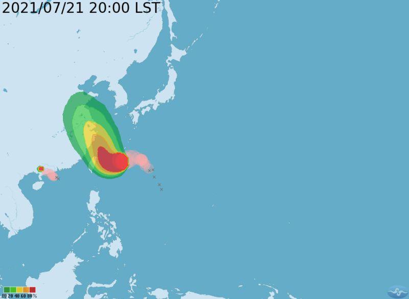 ▲今年第6號颱風「烟花」緩慢向西移動,中央氣象局在昨(21)日晚間20時30分發布海上警報。(圖/氣象局)