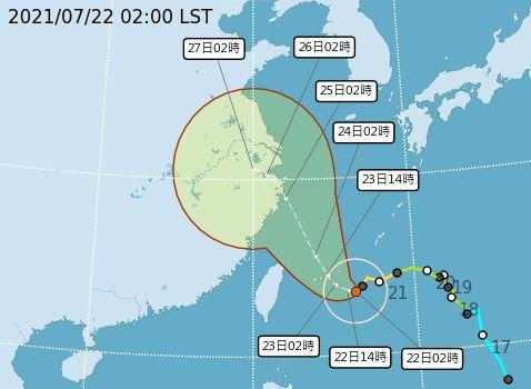 ▲22日2時「烟花」颱風路徑潛勢圖,目前烟花在台北東南東方海面,向西轉西北西緩慢移動,暴風圈正逐漸朝台灣東半部海面接近,對台灣東北部海面及東南部海面構成威脅。(圖/氣象局提供)