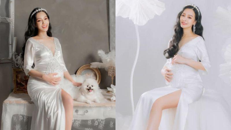 ▲王思佳在臉書曬出一系列孕婦沙龍美照。(圖/翻攝王思佳臉書)