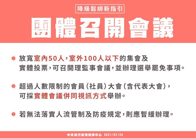 ▲行政院今(23)日宣布全國疫情警戒7月27日起降至2級,並鬆綁部分措施(圖/內政部提供)▲