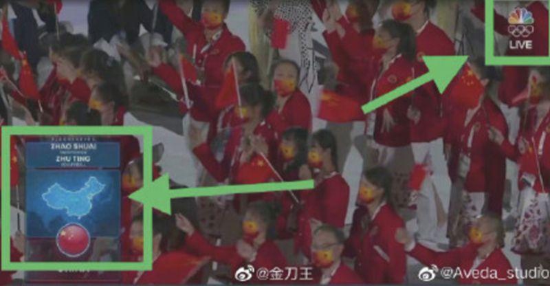 ▲中國網友發現CNBC東京奧運轉播畫面上所配的參加國家地圖,中國地圖沒有包括台灣。(圖/翻攝自微博)