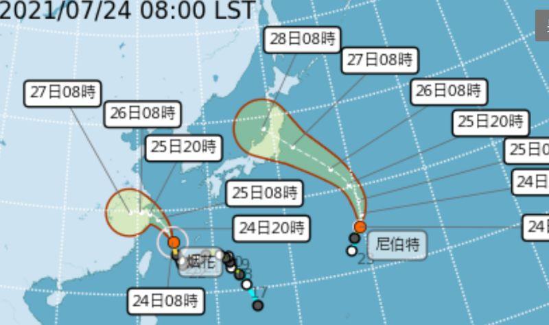 ▲氣象局表示,第6號颱風烟花暴風圈逐漸脫離台灣北部海面,持續向北北西轉西北移動,對台灣北部海面及東北部海面威脅已解除,並在今(24)日上午11時30分解除海上颱風警報。(圖/氣象局提供)
