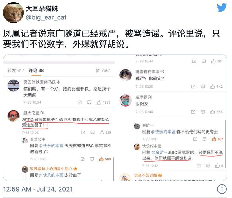 ▲大批中國網友痛批胡玲微博貼文。(圖/翻攝自@big_ear_cat推特)