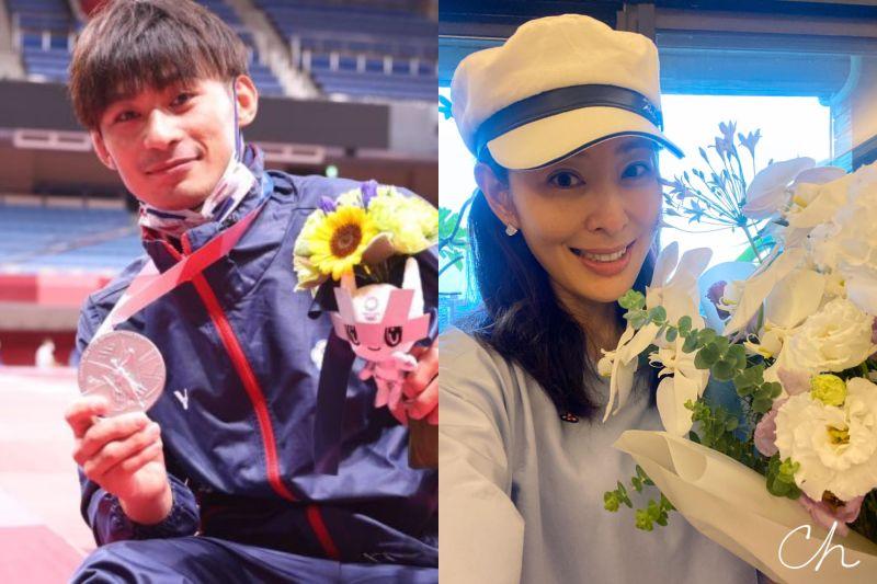 ▲楊勇緯(左)成日本天菜,賈永婕(右)也被迷翻。(圖//體育署提供、賈永婕臉書)